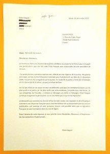 Premier courrier au Conseil d'Etat, le 24 décembre 2013.