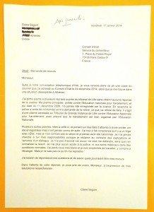 Second courrier au Conseil d'Etat, le 17 janvier 2014.