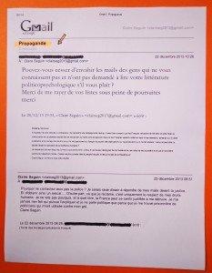 Seul échange lié au mailing de décembre 2013.